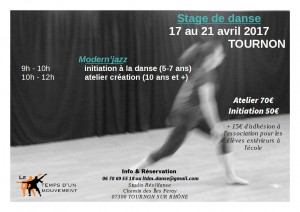 affiche stage TOURNON avril