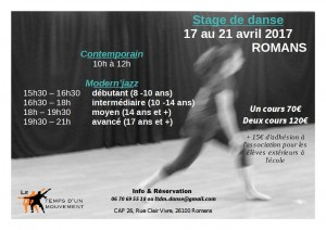 affiche stage romans avril
